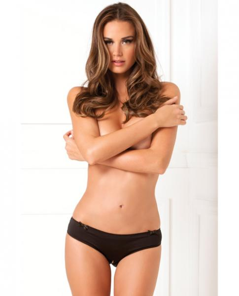 Rene Rofe Black Magic Crotchless Open Back Panty Black M/L
