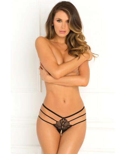Rene Rofe Wanted & Wild Crotchless Panty Black M/L