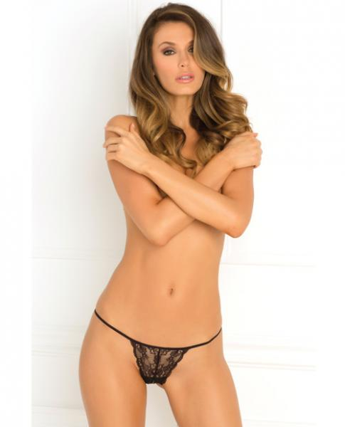 Got Your Back Crotchless Lace Thong Black S/M