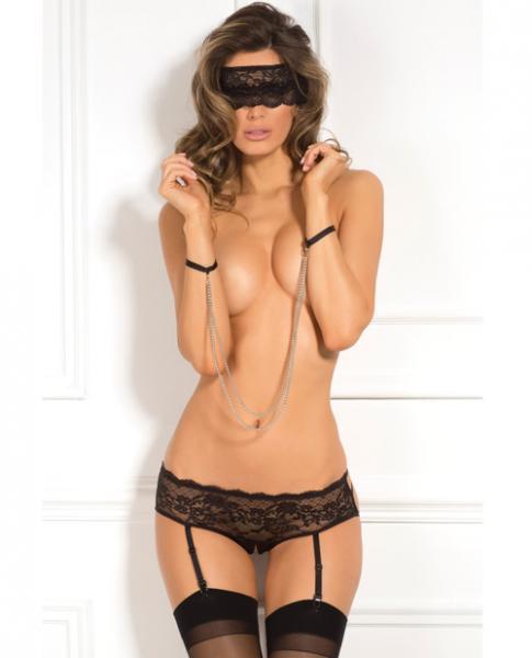 Rene Rofe Crotchless Panty, Mask & Chain Cuffs Black M/L
