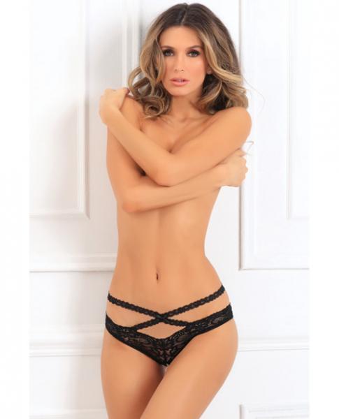 Oh My Lace Crotchless Panty Black S/M