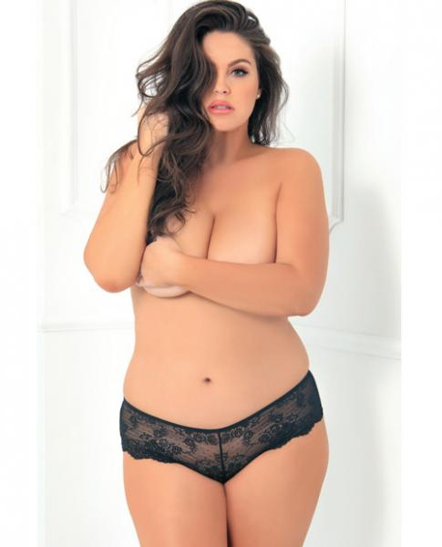 Rene Rofe Deep V Crotchless Panty Black 3X/4X