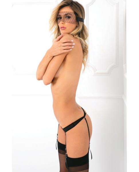 Behind The Mask Eye Mask, Garter Panty & Ankle Chains Black S/M