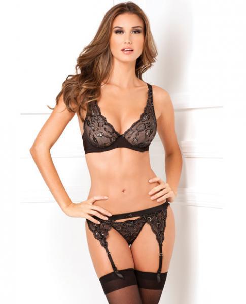 Rene Rofe Lux Lace Garter & Thong Set Black S/M