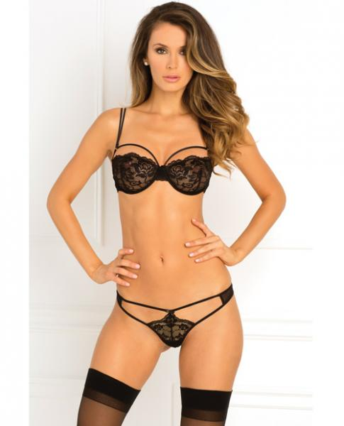 Rough Romance Bra & G-String Panty Black M/L