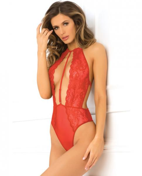 Hot Pursuit Lace Bodysuit Red S/M