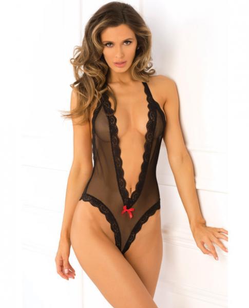 Rene Rofe Open Back Lace & Net Teddy Black M/L
