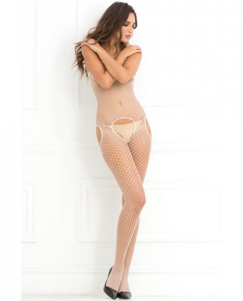 Industrial Net Suspender Bodystocking White O/S