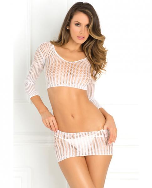 Rene Rofe Crochet-Net Bodystocking White O/S