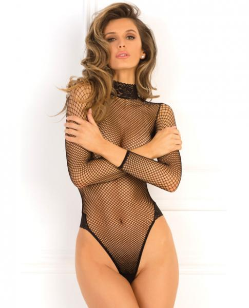 Rene Rofe High Demand Fishnet Bodysuit Black S/M