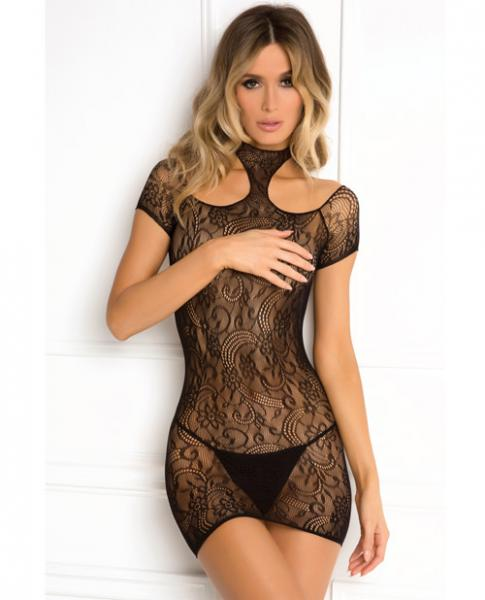 Rene Rofe Cold Shoulder Lace Babydoll Black M/L