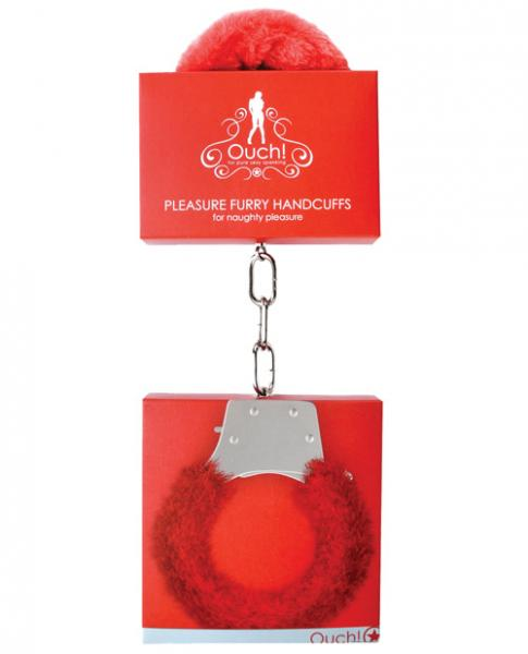 Ouch Furry Pleasure Handcuffs Red