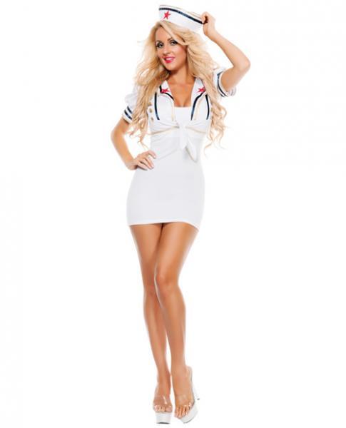 Shore Thing Sailor Kit Shrug & Hat White O/S