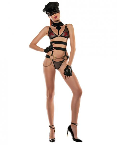 Role Play Officer Bra Collar, Bottom, Handcuffs & Eye Mask Black S/M