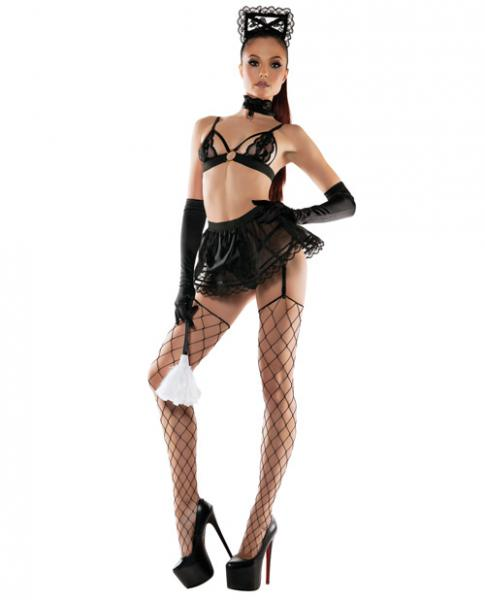 Role Play Maid Bra Top, Skirt, Collar & Headband Black M/L