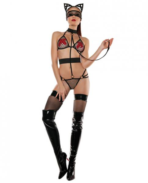 Role Play Mesh Top, Panty Collar, Leash, Mask & Cat Ears Black M/L