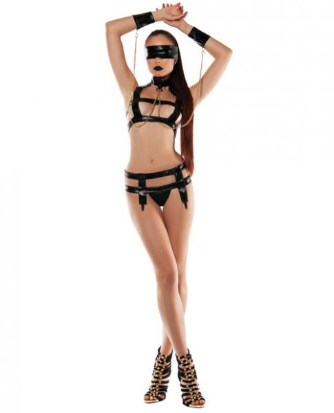 Faux Leather Bondage Top, Collar, Chain, Cuffs & Thong & Mask Black M/L