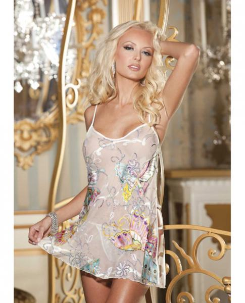 Burnout Silk Chemise & G-String Ivory Medium