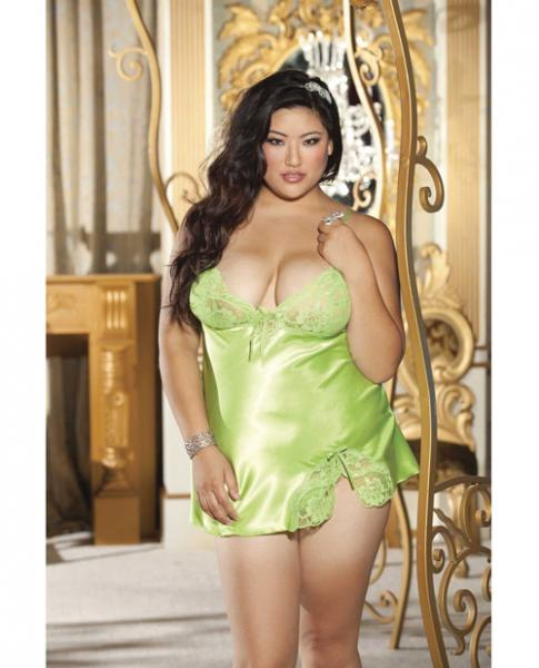 Charmeuse Lace Babydoll & G-String Green 1X