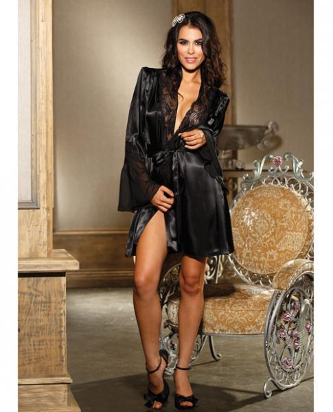 Chiffon & Lace Bell Sleeve Robe Black L/XL
