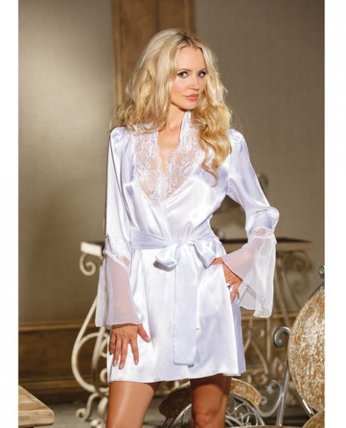 Chiffon & Lace Bell Sleeve Robe White S/M
