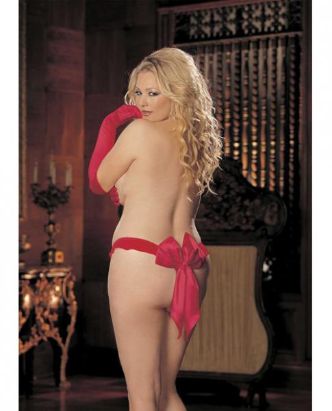 Charmeuse & Mesh Big Bow Thong Red 3X