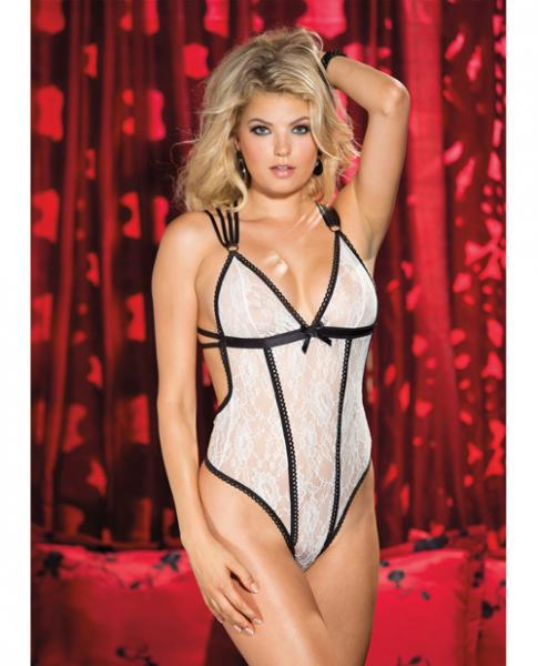 Stretch Lace Thong Teddy Ivory Black X-Large