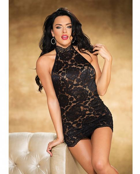 Lace Chemise Halter Neck & G-String Black Small