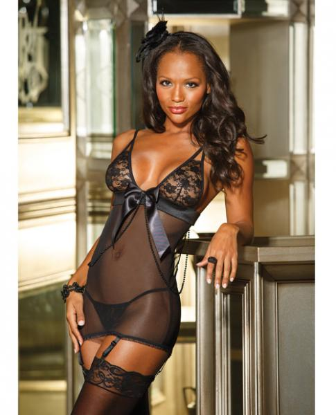 Stretch Lace Mesh Gartered Chemise & G-String Black Sm