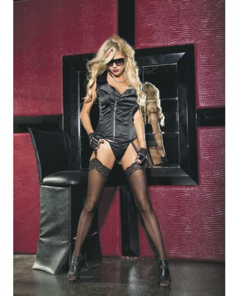 Stretch Satin Zipper Front Corset, Garters & G-String Black 34