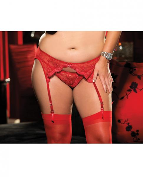 Scalloped Embroidery Garterbelt Front & Back Garters Red 1X/2X