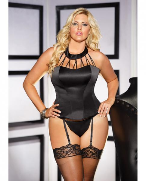 Heavy Satin Strappy Corset, Garters & G-String Black 40