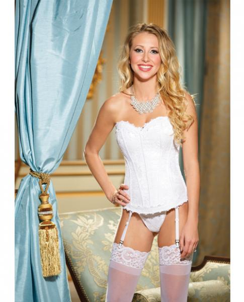 Lace, Satin Corset Garters & G-String White 36