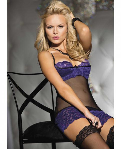 Lace Mesh Chemise, Garters & G-String Black/Purple Lg