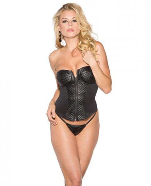 Pleather Corset Zip Up Front Black 2X