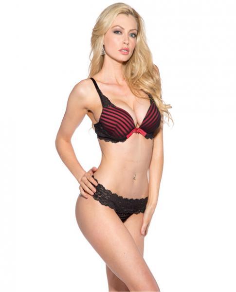 Striped Bra Underwire Lace Panty Black/Red 2X