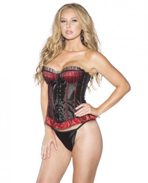 Mesh Overlay Polka Dot Stripe Corset & G-String Black Red Sm