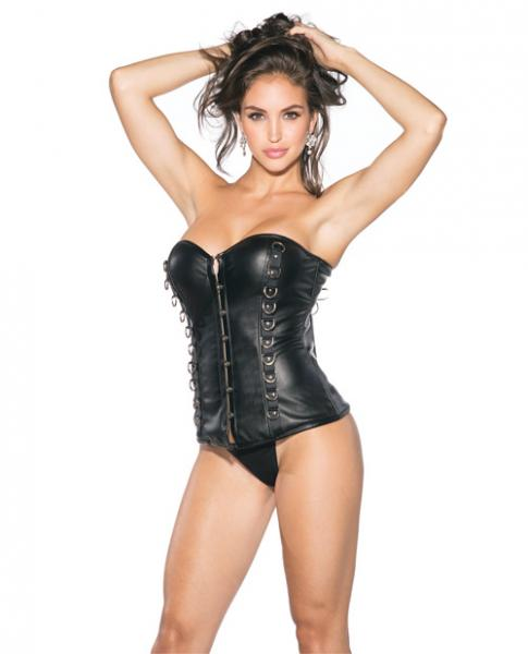 Pleather Bustier Padded Cups, Front Closure Black Lg