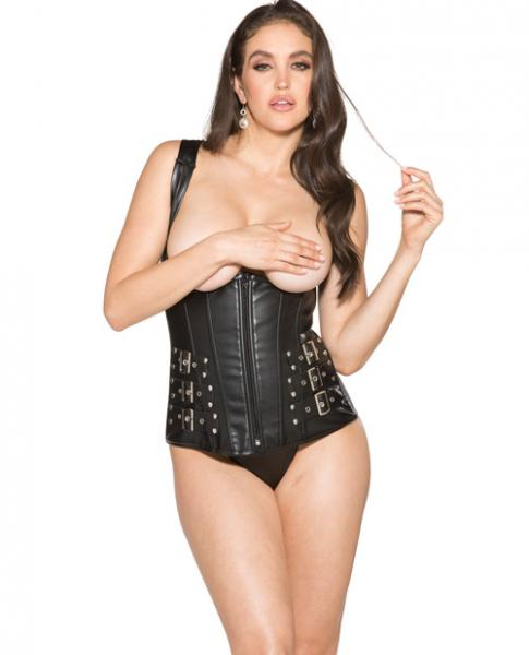 Open Cups Corset and G-String Black Large