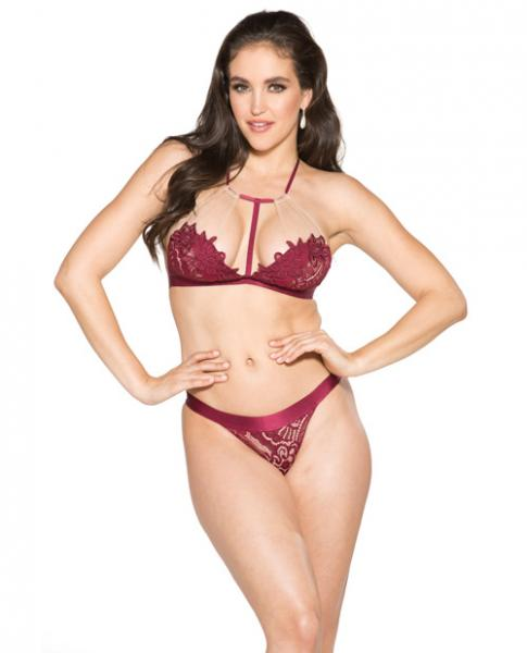 T-Front Floral Applique Bra & Panty Burgundy Nude XL