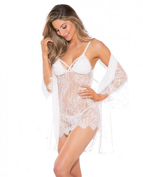 Lace Peignoir Set with Bra & G-String White Large