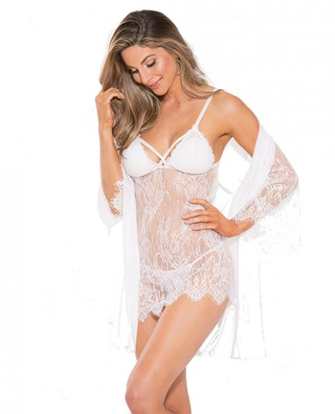 Lace Peignoir Set with Bra & G-String White Medium