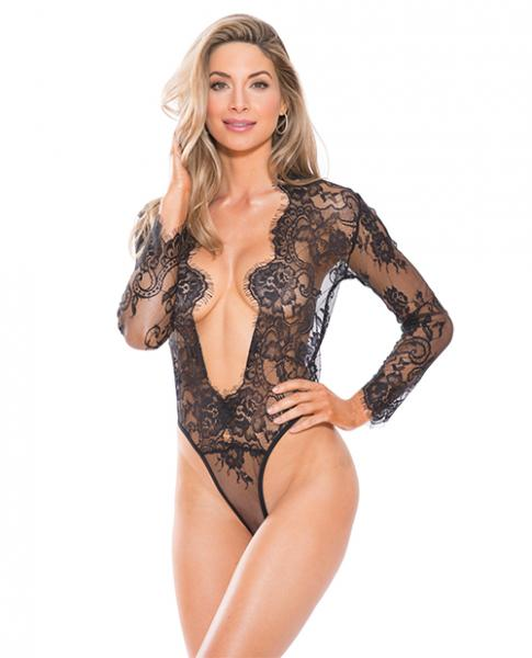 Lace Teddy Black Long Sleeves Large
