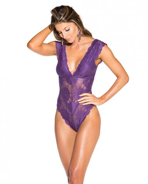 Lace Thong Teddy Wide Shoulder Straps Purple Lg
