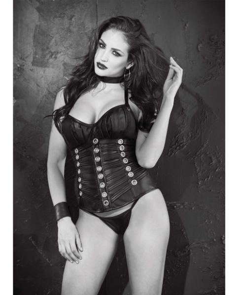 Faux Leather Push Up Corset Lace Up Back & G-String Black 32