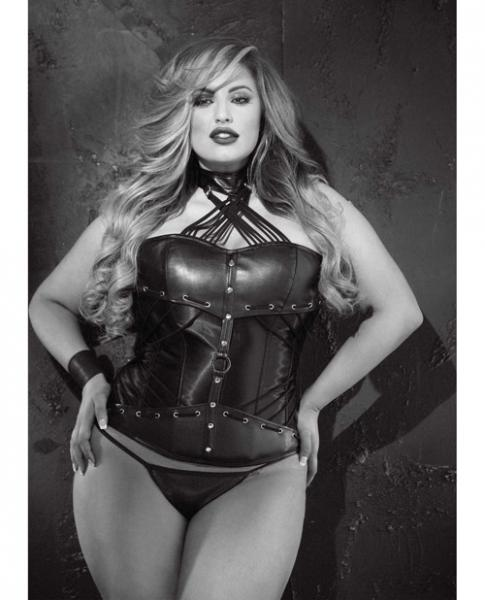 Faux Leather Strappy Neck Corset & G-String Black 40