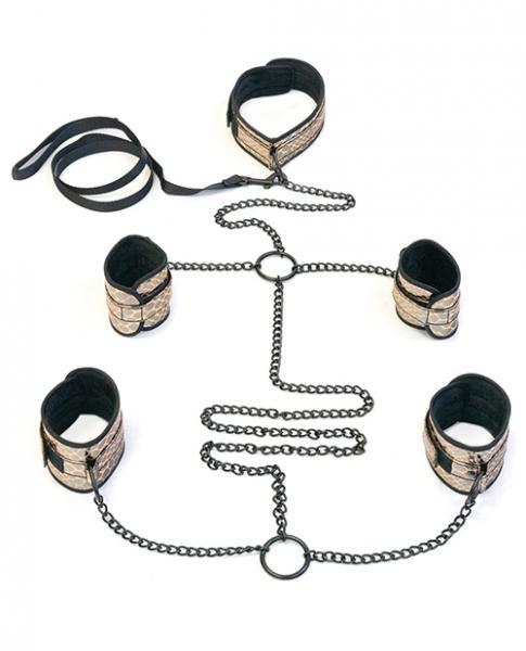 Faux Leather Collar, Wrist, Ankle Restraints & Leash Bondage Kit Gold