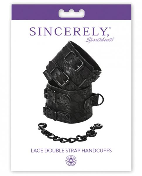 Sincerely Lace Double Strap Handcuffs Black