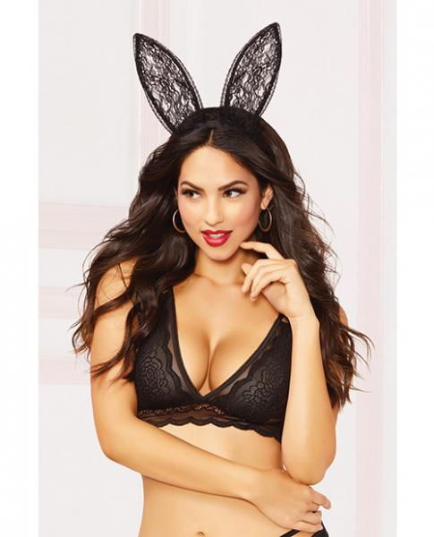 Lace Bunny Ears Black O/S