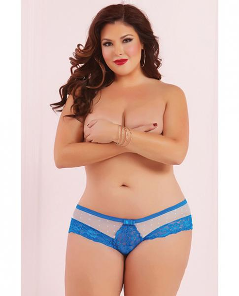 Galloon Lace & Dot Mesh Panty Blue 1X/2X